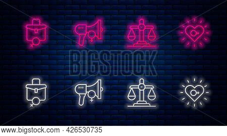 Set Line Feminist Activist, Gender Equality, Work For Female And Feminism. Glowing Neon Icon On Bric