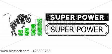 Mosaic Bullish Market Chart Composed Of Rectangle Parts, And Black Grunge Super Power Rectangle Badg