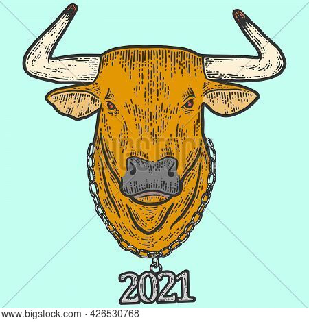 New Year, Bull Head With Chain 2021. Sketch Scratch Board Imitation Color.