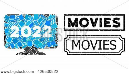 Collage 2022 Display Screen Designed From Rectangle Items, And Black Grunge Movies Rectangle Badge W