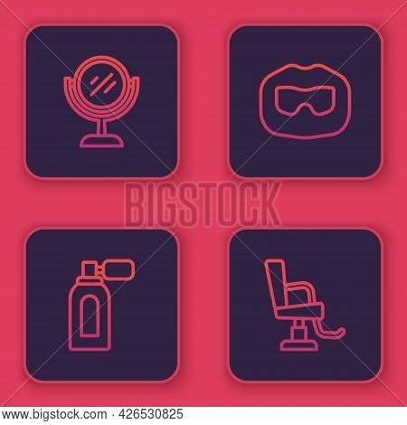 Set Line Hand Mirror, Aftershave With Atomizer, Mustache Beard And Barbershop Chair. Blue Square But