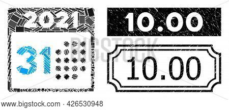 Mosaic Last 2021 Day Organized From Rectangular Parts, And Black Grunge 10.00 Rectangle Stamp With N