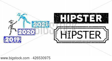 Mosaic 2021 Year Guy Help United From Rectangle Elements, And Black Grunge Hipster Rectangle Seal Wi