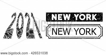 Collage 2021 Perspective Digits United From Rectangular Elements, And Black Grunge New York Rectangl
