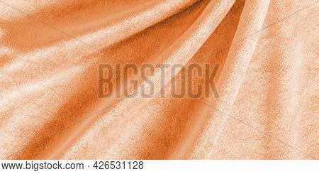 Copper Gold Velvet Background Or Golden Orange Amber Velour Flannel Texture Made Of Cotton Or Wool W