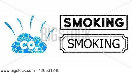 Collage Co2 Smoke Emission Organized From Rectangle Elements, And Black Grunge Smoking Rectangle Sea