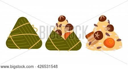 Delicious Rice Dumplings, Duanwu Holiday. Illustration Vector Flat Of Zongzi Or Sticky Rice Dumpling