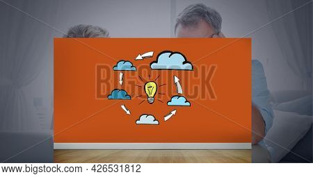 Composition of cloud with network of digital icons over couple. global business, digital interface, technology and networking concept digitally generated image.