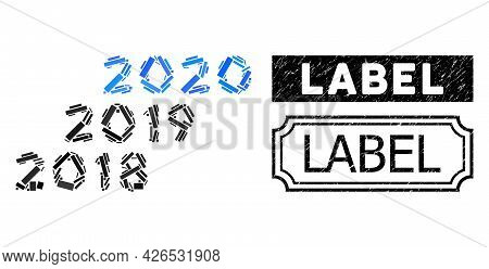 Mosaic 2018 - 2020 Years Constructed From Rectangle Items, And Black Grunge Label Rectangle Seal Wit