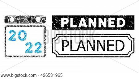 Mosaic 2022 Calendar Composed Of Rectangle Elements, And Black Grunge Planned Rectangle Seal With No