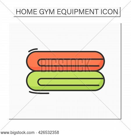 Towel Color Icon. Folded Gym Shower Towels Pile. Concept Of Fitness, Regular Training, Healthy Lifes