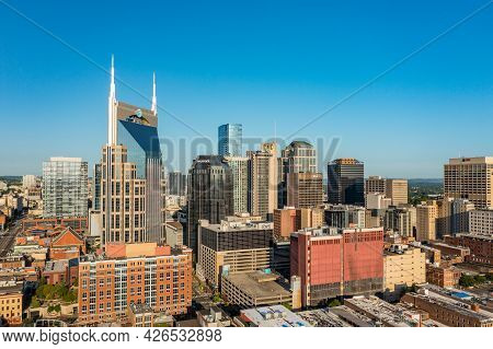 Nashville, Tennessee - 28 June 2021: Aerial Drone View Of The Financial Downtown District Of Nashvil