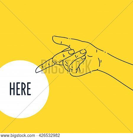 The Index Finger Of The Persons Hand Points To The Side. A Hand Gesture.