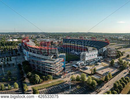 Nashville, Tennessee - 28 June 2021: Nissan Stadium In Nashville Tennessee Just After Sunrise
