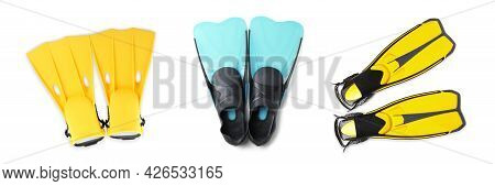 Set With Different Flippers On White Background, Top View. Banner Design