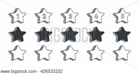 Rating Signs. Quality Rating Icons. Drawn Icons Of Stars. Vector Illustration