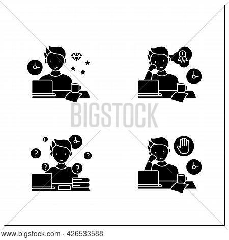 Procrastination Glyph Icons Set. Perfectionist, Dreamer, Overdoer Procrastinator. Overwhelmed Concep