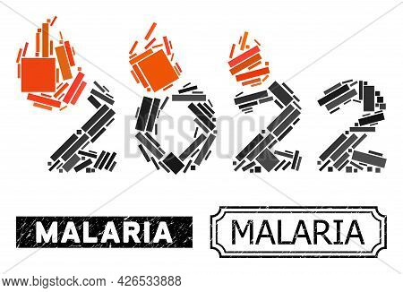 Collage Fired 2022 Year Constructed From Rectangular Items, And Black Grunge Malaria Rectangle Badge