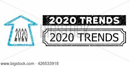 Mosaic 2020 Ahead Arrow Organized From Rectangular Parts, And Black Grunge 2020 Trends Rectangle Sea