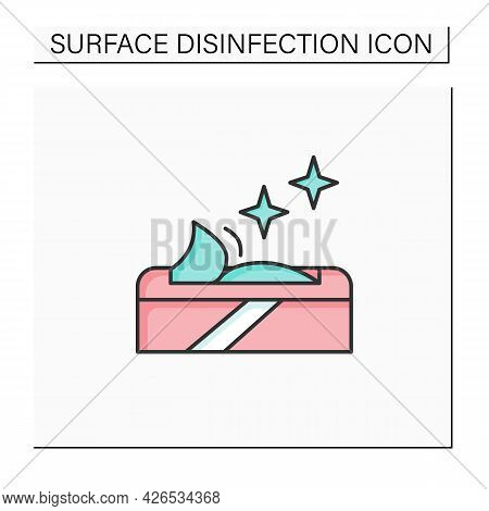 Wet Wipes Color Icon. Disinfectant And Cleaning Cloth Package Linear Pictogram. Concept Of Hygiene,