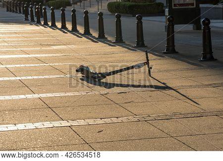 Nashville, Tennessee - 28 June 2021: Bird Electric Scooter Abandoned On Pedestrian Bridge Near Broad
