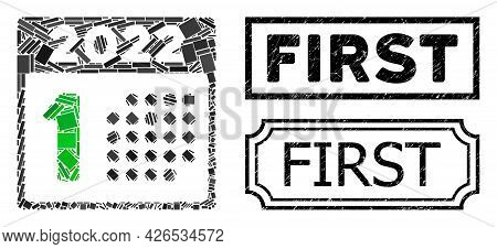 Collage 2022 Year First Day United From Rectangle Items, And Black Grunge First Rectangle Seal With