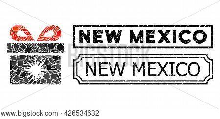 Mosaic Virus Pandorra Box Designed From Rectangular Parts, And Black Grunge New Mexico Rectangle Sea