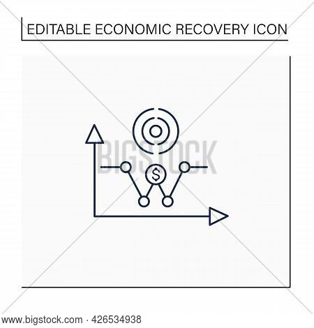 W Shaped Recovery Line Icon. Fluctuations.economy Passes Through A Recession Into Recovery And Turns
