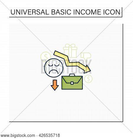 Motivation Color Icon. Reduce Work Motivation. Work Trouble. Unhappy Workers. Efficiency Decline.uni