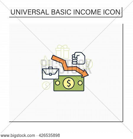 Low Wages Color Icon. Important Problem. Discouraging Low Wages. Less Money.universal Basic Income C