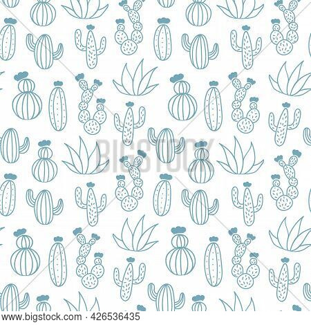 Vector Drawing Seamless Pattern. Line Hand Drawn Monochrome Cactus Background. Green Natural Ornamen
