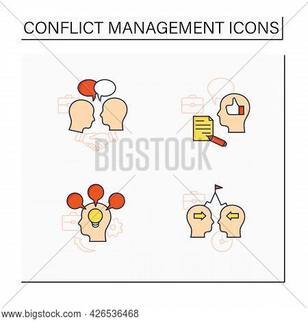 Conflict Management Color Icons Set. Conflict Between Two Persons. Showing Respect, Feedback, Accomm