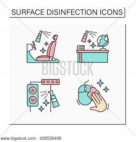 Surface Disinfection Color Icons Set. Car Seats, School, Elevator Disinfection.safety Space And Prev