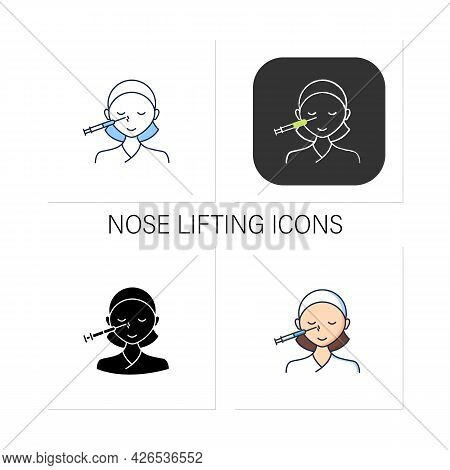 Cosmetic Injection Icons Set.woman Doing Injection Into Nose. Nose Lifting.rejuvenation.beauty Cosme