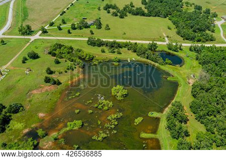 Aerial View Beautiful Farm Fields Landscape Lake From Above From A Height Land