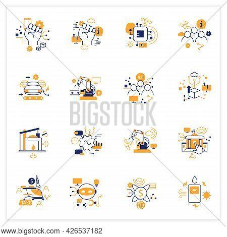Digital Transformation Flat Icons Set. Modern Technologies. Digitalization. Future. Digital Revoluti