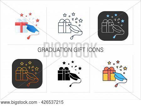 Graduation Gift Icons Set.gift On Graduation Occasion. Pleasant Presents. Special Surprise. Graduate