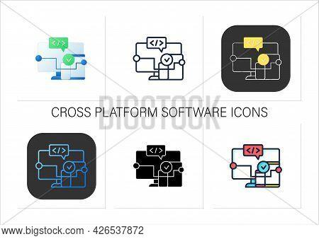 Cross Platform Software Icons Set. Implemented On Multiple Computing Platforms. Programming Environm