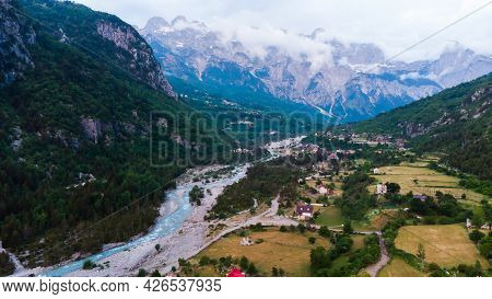 Theth National Park. Shkoder County, Albania. Landscape In The Central Part Of Albanian Alps.