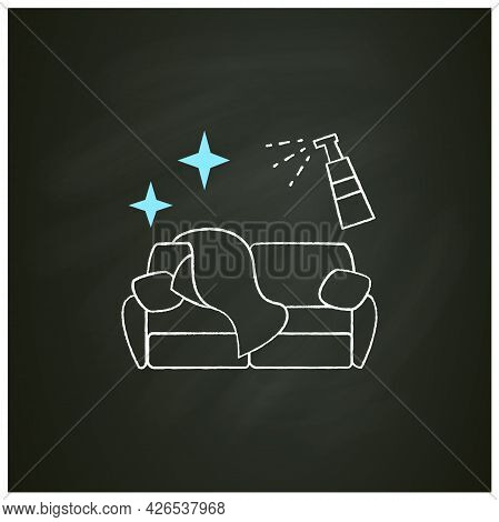Couch Disinfection Chalk Icon.wet Cleaning And Sanitizing Of Soft Home Furniture.sanitizing Home Ite