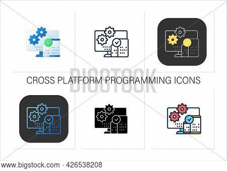 Cross Platform Programming Icons Set.programming Environment. Platform For Creating New Operating Sy