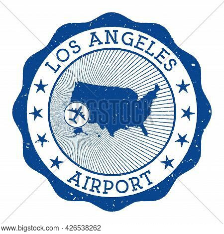 Los Angeles Airport Stamp. Airport Of Los Angeles Round Logo With Location On United States Map Mark
