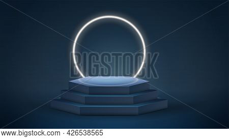 Dark And Blue Hexagon Podium With Neon Ring On Background In Empty Room