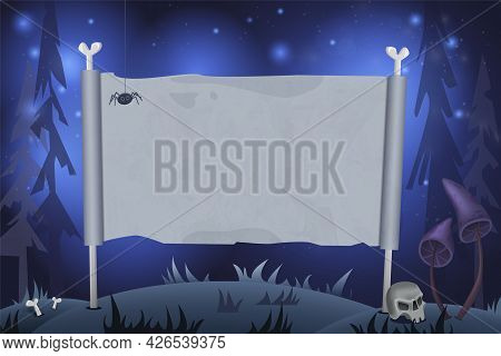 Halloween Background With Empty Sheet Of Paper, Bones, Skull And Creepy Mushrooms