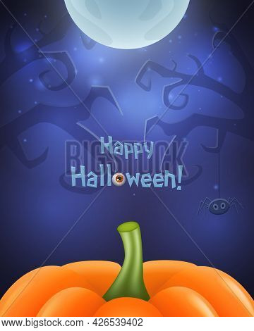 Happy Halloween Background For Design With Creepy Tree, Pumpkin And Moon