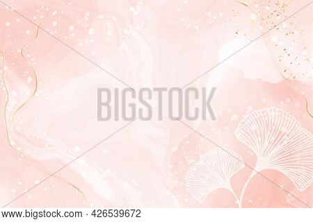 Abstract Dusty Blush Liquid Watercolor Background With White Ginkgo Leaves. Pastel Pink Marble Alcoh