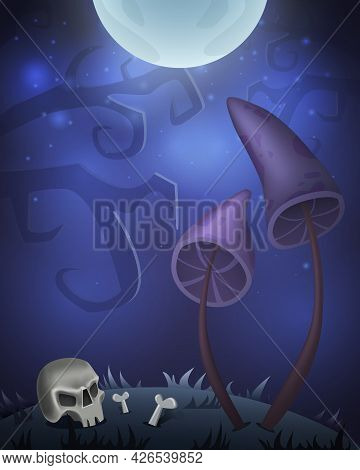 Halloween Card For Design With Creepy Mushrooms, Skull And Moon