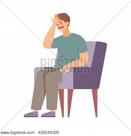 Middle Aged Man Tired And Exhausted In Armchair, Vector Illustration Isolated.