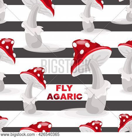 Fly Agaric Mushrooms. Isolated Vector Template, Pattern On White Striped Background. Seamless Patter