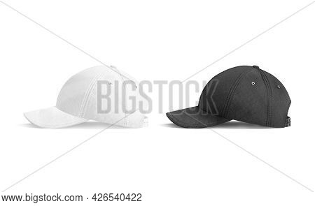 Blank Black And White Baseball Cap Mockup, Side View, 3d Rendering. Empty Fabric Headwear For Sport